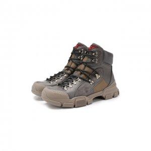 Кожаные ботинки Flashtrek Gucci. Цвет: серый