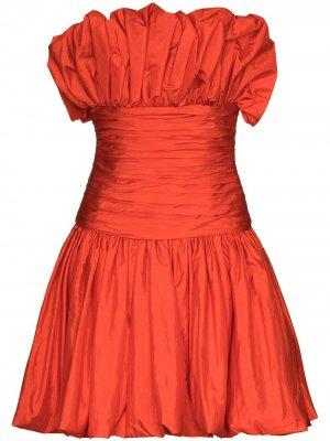 Платье мини со сборками Carolina Herrera. Цвет: оранжевый