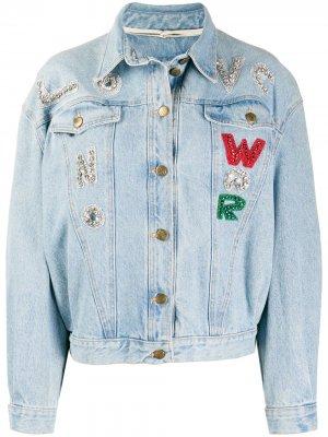 Декорированная джинсовая куртка 1980-х годов в технике пэчворк A.N.G.E.L.O. Vintage Cult. Цвет: синий