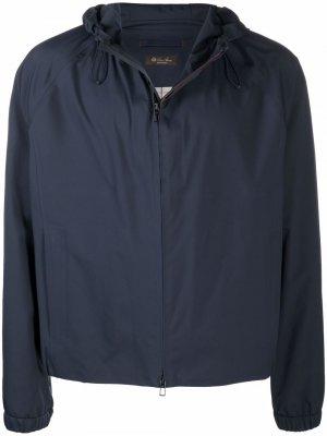 Куртка на молнии с капюшоном Loro Piana. Цвет: синий