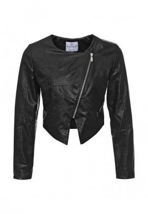 Куртка кожаная Rinascimento. Цвет: черный