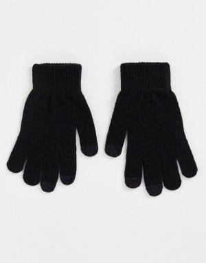 Черные перчатки с отделкой для сенсорных устройств -Черный цвет SVNX