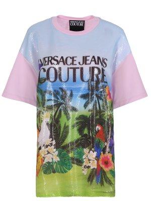 Хлопковая футболка с пайетками VERSACE JEANS COUTURE
