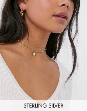 Ожерелье-чокер из позолоченного серебра с круглой подвеской -Золотой Kingsley Ryan