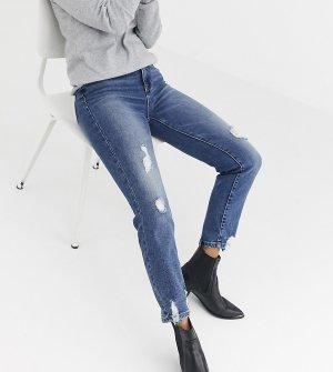 Рваные эластичные джинсы в винтажном стиле -Синий Stradivarius