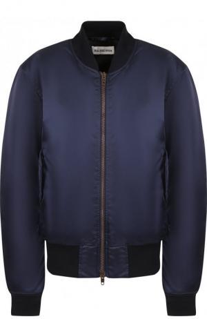 Однотонный бомбер с карманами Balenciaga. Цвет: темно-синий
