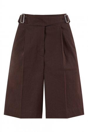Темно-коричневые шорты из хлопка и льна Acne Studios. Цвет: коричневый