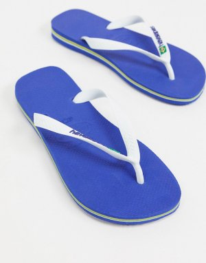 Сине-белые шлепанцы с логотипом -Синий Havaianas