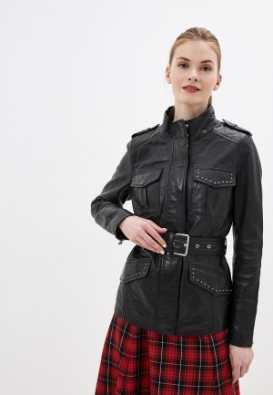 Куртка кожаная La Reine Blanche. Цвет: черный