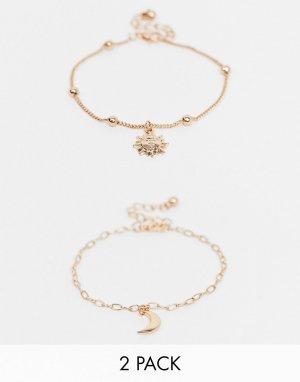 Набор из 2 золотистых браслетов с подвесками в виде луны и солнца -Золотистый ASOS DESIGN