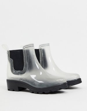 Прозрачные резиновые ботинки челси на массивной подошве -Очистить London Rebel