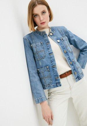 Куртка джинсовая Sandro. Цвет: голубой
