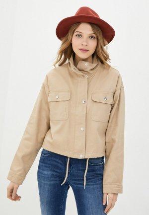 Куртка джинсовая Jacqueline de Yong. Цвет: бежевый