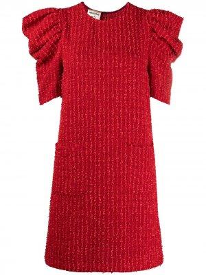 Твидовое платье с пышными рукавами Semicouture. Цвет: красный
