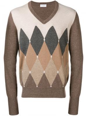 Трикотажный свитер с узором в ромб Ballantyne. Цвет: нейтральные цвета