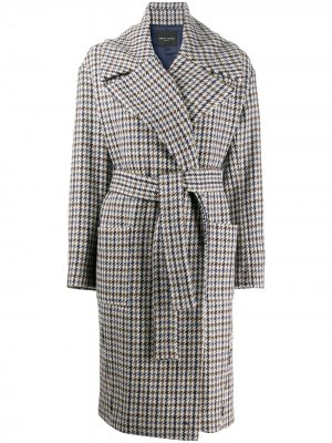 Клетчатое пальто с поясом Roberto Collina. Цвет: нейтральные цвета