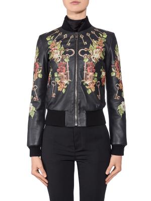 Кожаная куртка с принтом DOLCE & GABBANA. Цвет: разноцветный