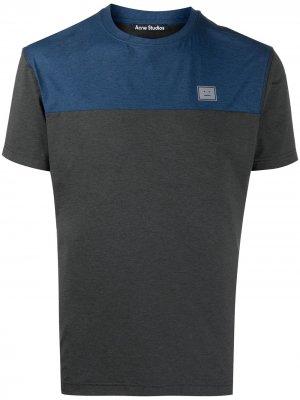 Двухцветная футболка со вставкой Acne Studios. Цвет: серый