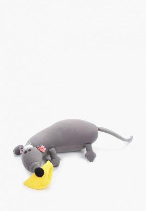 Подушка декоративная Gekoko Крыса Анфиса. Цвет: серый