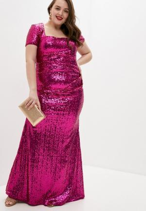 Платье Goddiva Size Plus. Цвет: розовый
