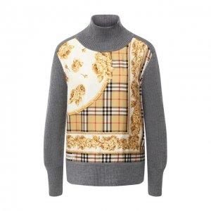 Шерстяной пуловер с принтом Burberry. Цвет: серый