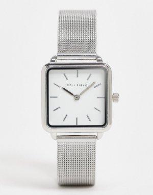 Часы из нержавеющей стали с квадратным циферблатом и сетчатым браслетом -Серебристый Bellfield
