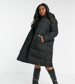 Длинная дутая куртка черного цвета -Черный цвет Junarose