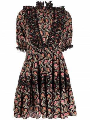 Платье мини с английской вышивкой byTiMo. Цвет: черный