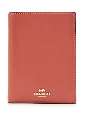 Коричневая обложка для паспорта Coach. Цвет: оранжевый