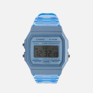Наручные часы Collection F-91WS-2EF CASIO. Цвет: голубой