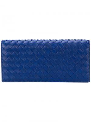 Прямоугольный бумажник Bottega Veneta. Цвет: синий