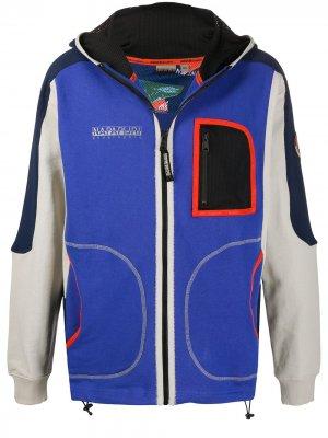 Куртка в стиле колор-блок с капюшоном Napapijri. Цвет: синий