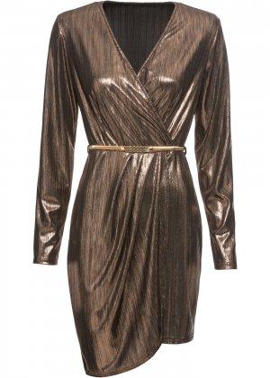 Платье коктейльное с ремнем bonprix. Цвет: золотой
