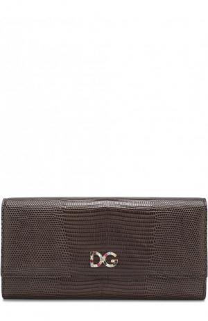 Кожаный кошелек с клапаном Dolce & Gabbana. Цвет: коричневый
