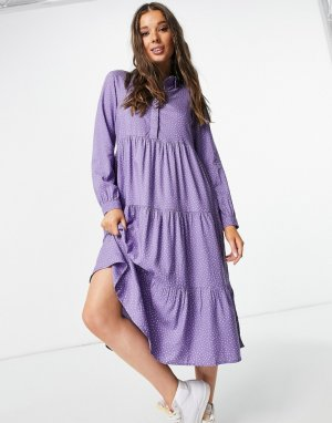 Фиолетовое ярусное платье миди в горошек с воротником Pearl-Голубой Monki