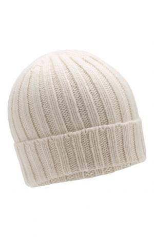 Кашемировая шапка фактурной вязки Allude. Цвет: белый