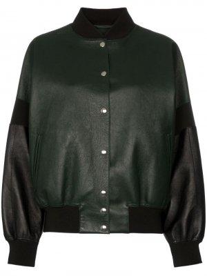 Куртка-бомбер на пуговицах с контрастными рукавами Plan C. Цвет: зеленый