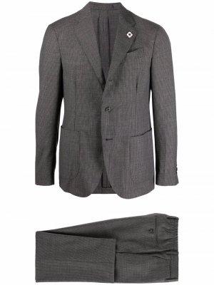 Костюм в ломаную клетку с однобортным пиджаком Lardini. Цвет: серый
