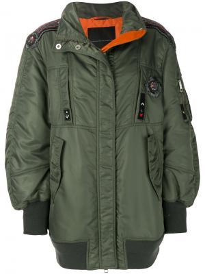 Куртка-бомбер оверсайз с вышивкой Ermanno Scervino. Цвет: зелёный