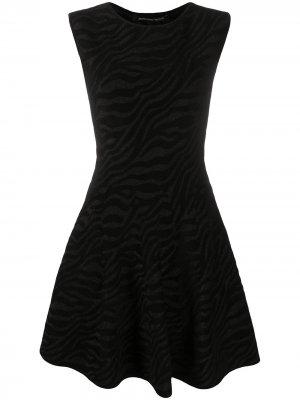 Платье мини с зебровым узором Antonino Valenti. Цвет: черный