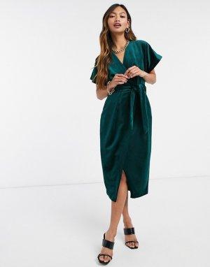 Изумрудно-зеленое бархатное платье миди с запахом и рукавами-кимоно -Зеленый Closet London