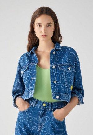 Куртка джинсовая Pull&Bear SMILEY, Join Life. Цвет: синий