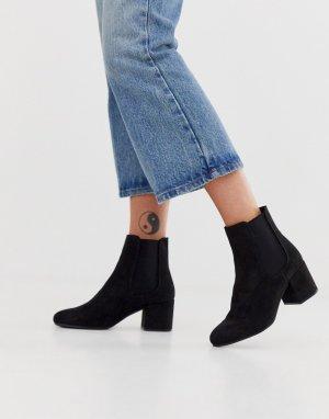 Ботинки челси на каблуке из искусственной замши -Черный New Look
