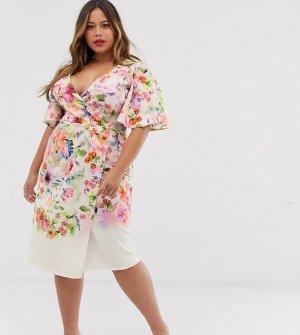 Платье-футляр кремового цвета с цветочным принтом эффектом омбре и рукавами ангел -Мульти True Violet Plus