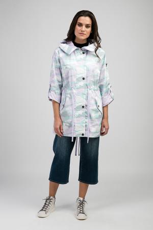 Удлиненная куртка-ветровка с модным принтом ODRI. Цвет: сиреневый