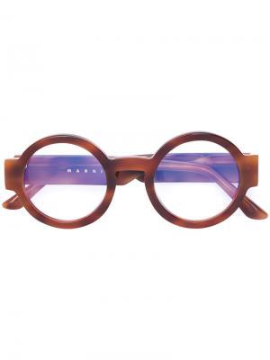 Round shaped glasses Marni Eyewear. Цвет: коричневый