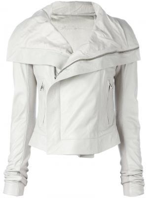 Кожаная куртка Rick Owens. Цвет: белый