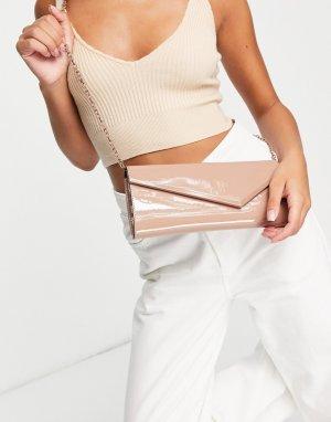 Бежевый лакированный клатч-конверт Jewalewia-Светло-бежевый цвет ALDO