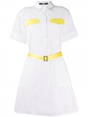 Платье-рубашка с английской вышивкой Karl Lagerfeld. Цвет: белый