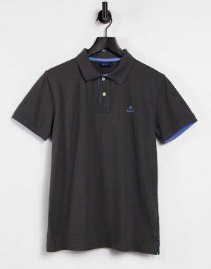 Поло из ткани пике темно-серого графитового цвета с логотипом и контрастным воротником -Серый Gant